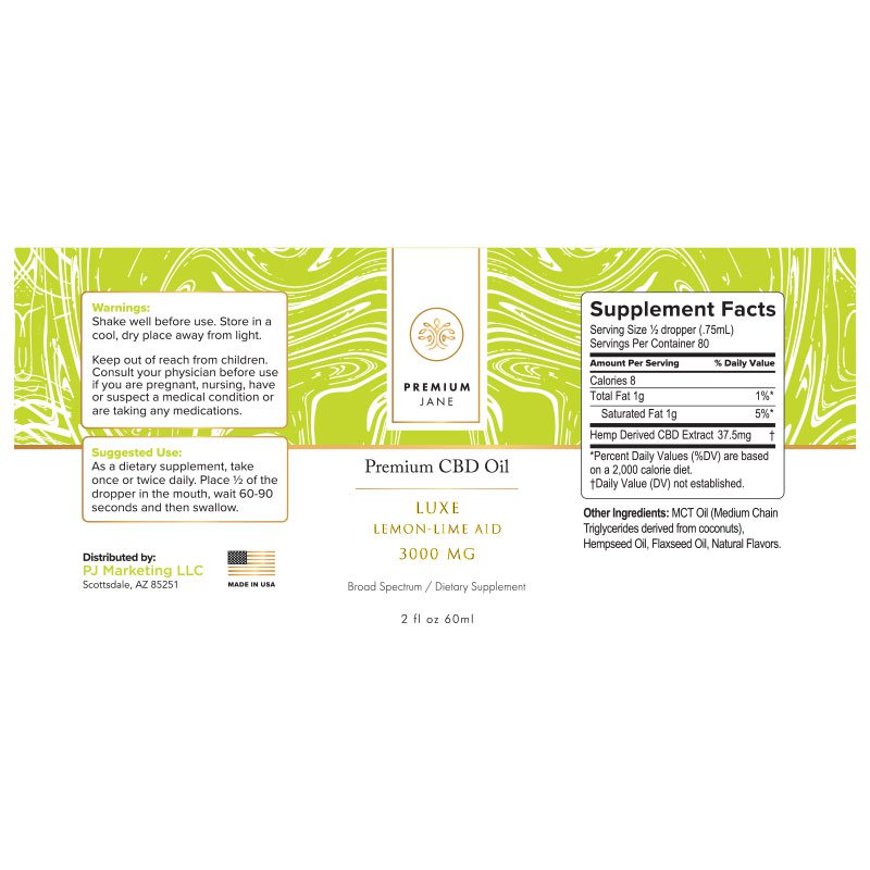 3000mg Premium Jane Luxe Lemon-Lime CBD Tincture – 2 oz / 60mL