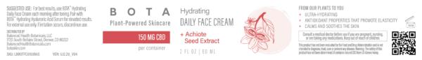 BOTA Hydrating Daily Face Cream + Achiote Seed - 150 mg CBD 2 oz
