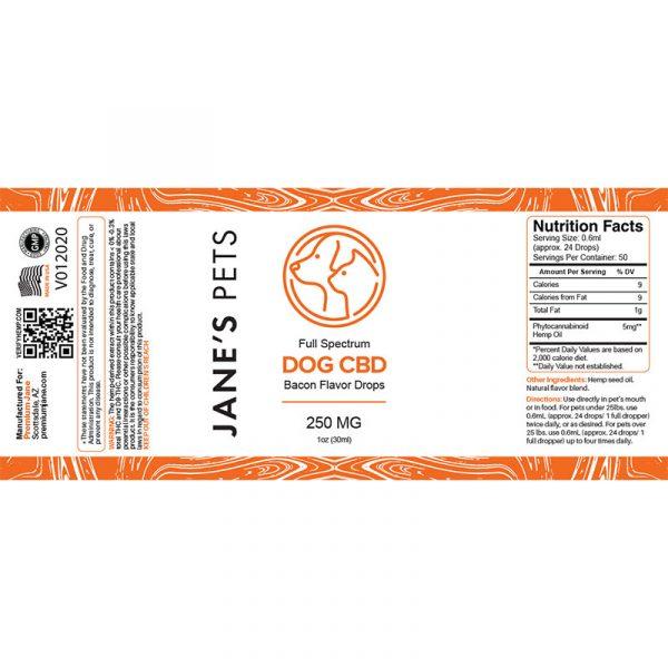 Premium Jane DOG CBD Drops Bacon Flavor-250mg – 1oz/30mL