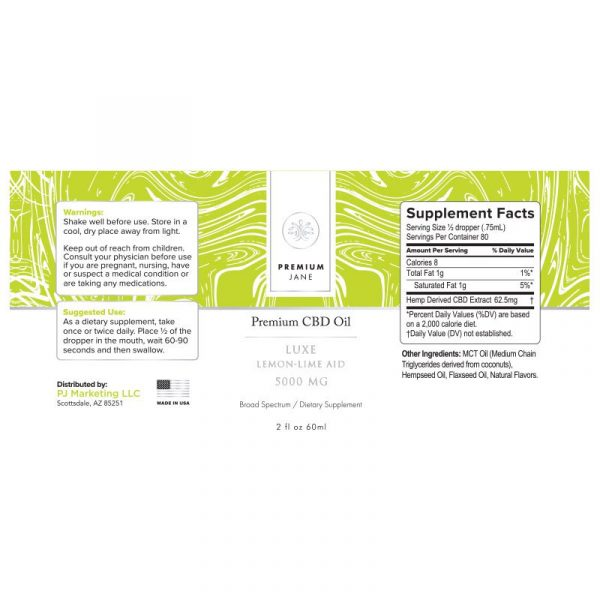 PJ 5000mg Luxe Lime Aid label