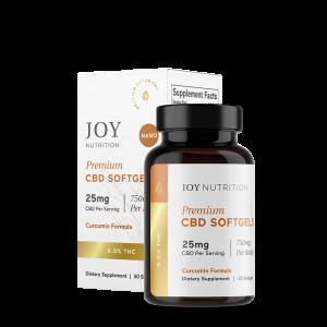 Joy Organics CBD Softgels with Curcumin 25mg