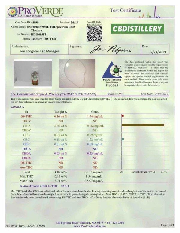 CBDistillery Full Spectrum CBD Oil – 1000mg – 30ml