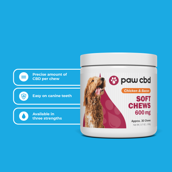 CBD Pet Soft Chews for Dogs CHICKEN & BACON - 150/300/600mg 30 COUNT