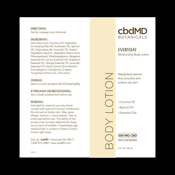 CBD Body Lotion 8 OZ TUBE - 500 MG