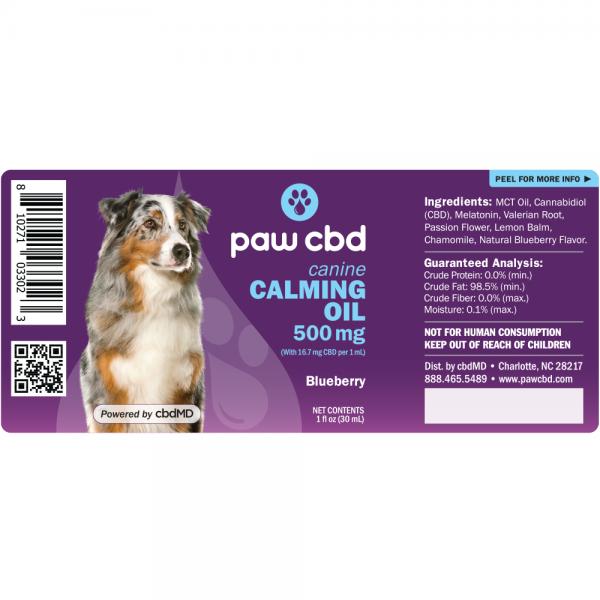calm dog tincture 500 label