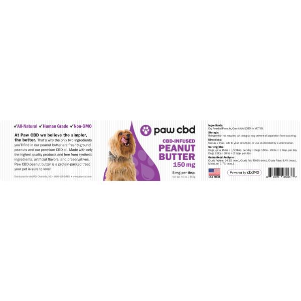 Pet CBD Peanut Butter for Dogs 150/300/600 MG - 16 OZ
